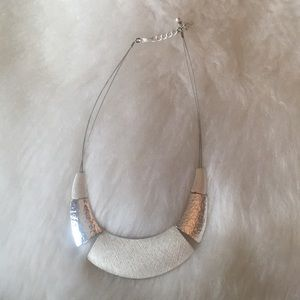 Jewelry - Silver two toned brushed necklace